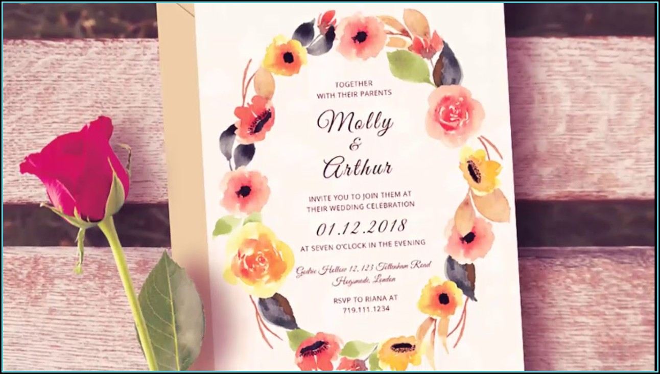 Wedding Invitation Photoshop Template Free Download