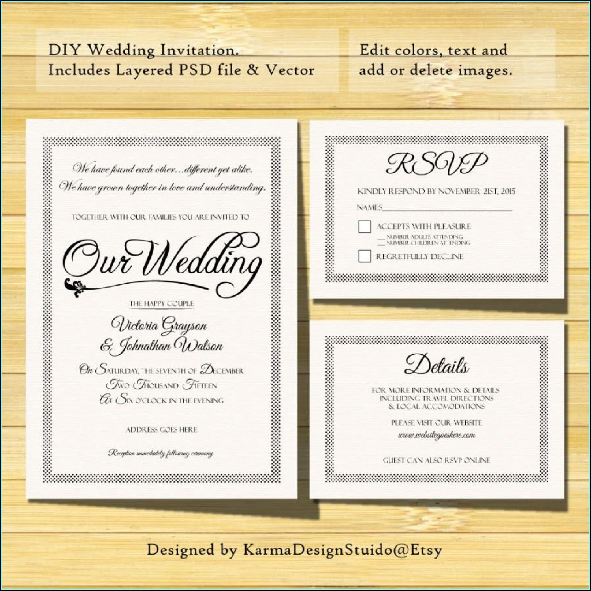 Wedding Invitation Template Photoshop Free