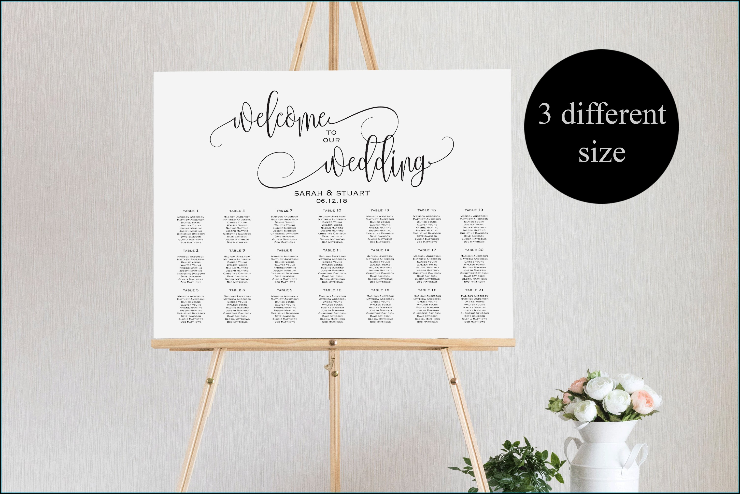 Wedding Seating Chart Poster Template Microsoft Word