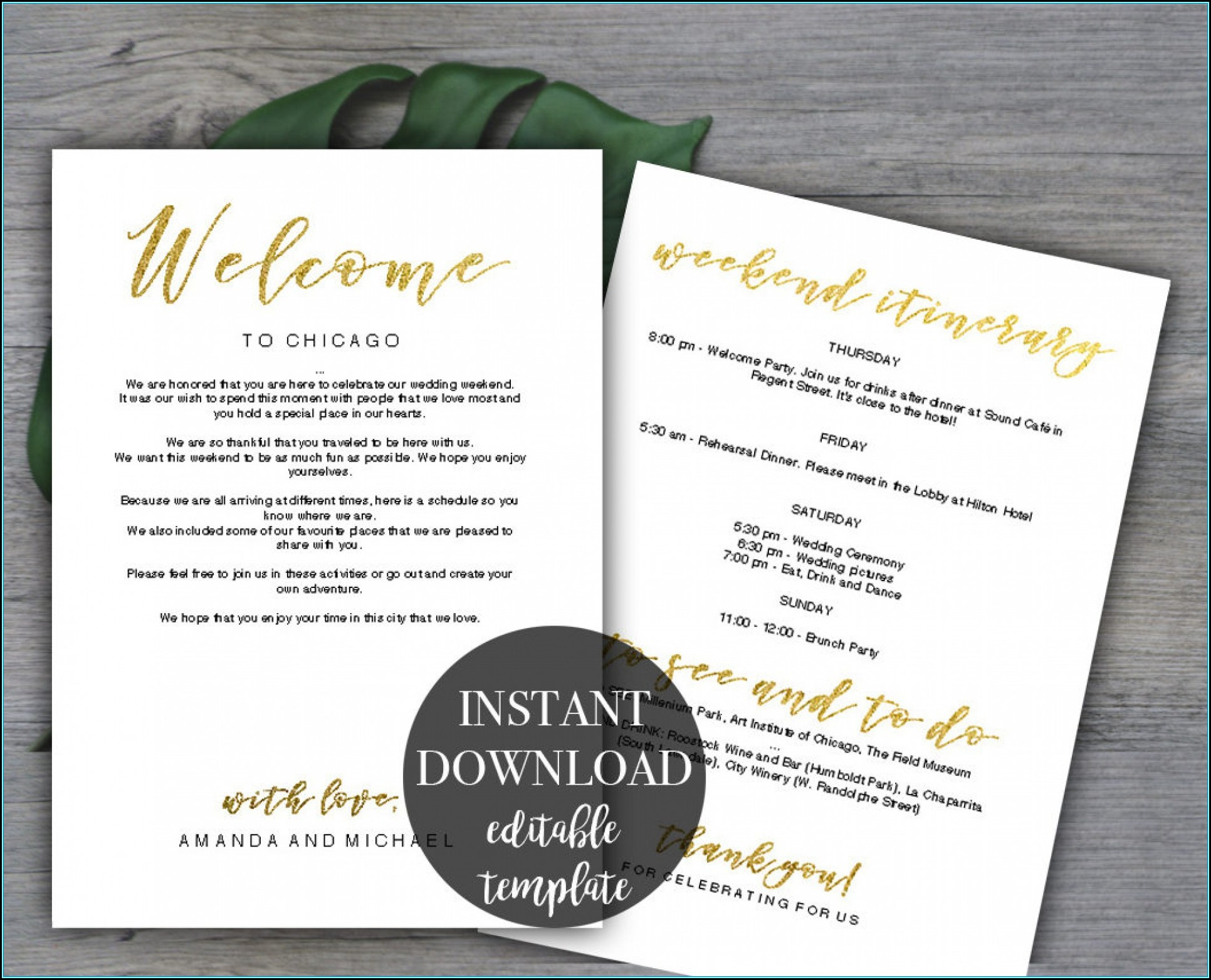 Wedding Weekend Itinerary Template Free