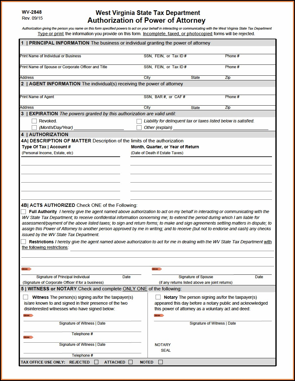 West Virginia Tax Power Of Attorney Form
