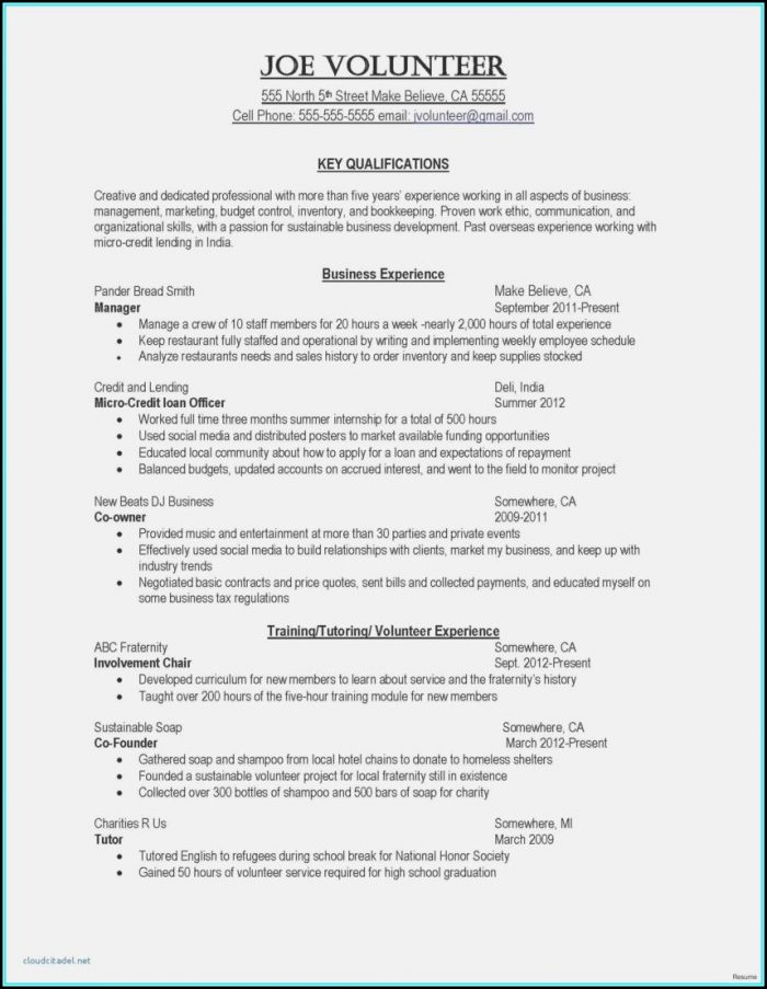 Word Document Resume Template Free