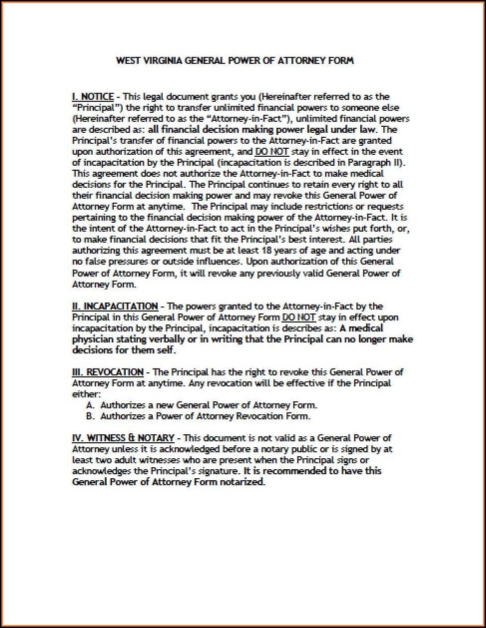 Wv Dmv Power Of Attorney Form
