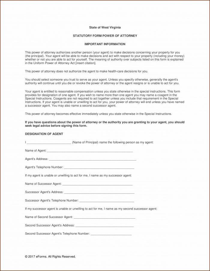 Wv Statutory Power Of Attorney Form