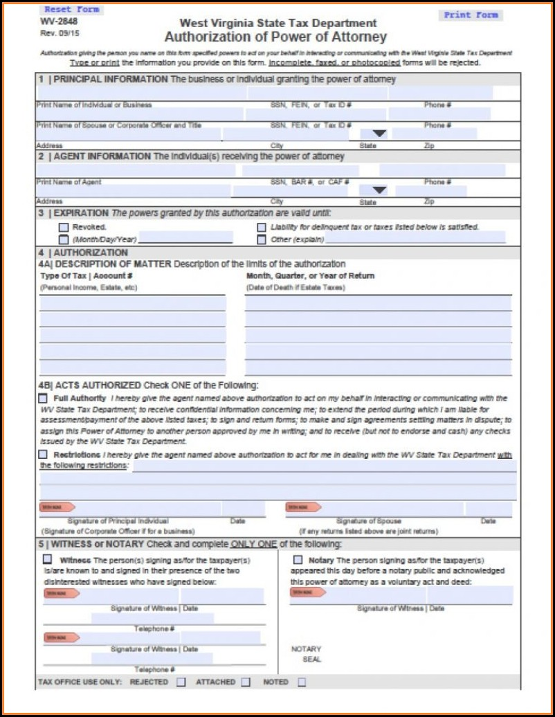 Wv Tax Power Of Attorney Form
