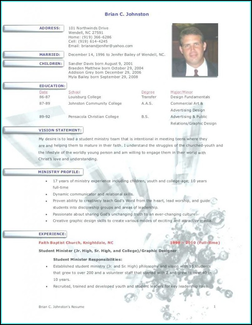 Youth Pastor Resume Template