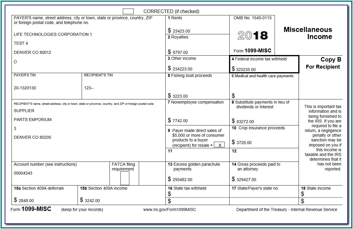 1099 Fillable Form 2017 Free