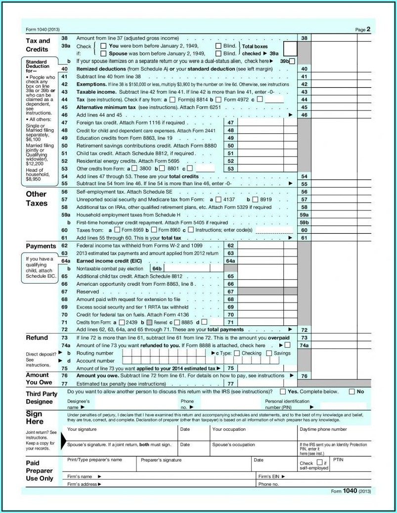 2014 Federal Tax Forms 1040a Printable