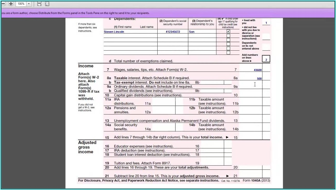 2014 Irs Tax Form 1040a Instructions