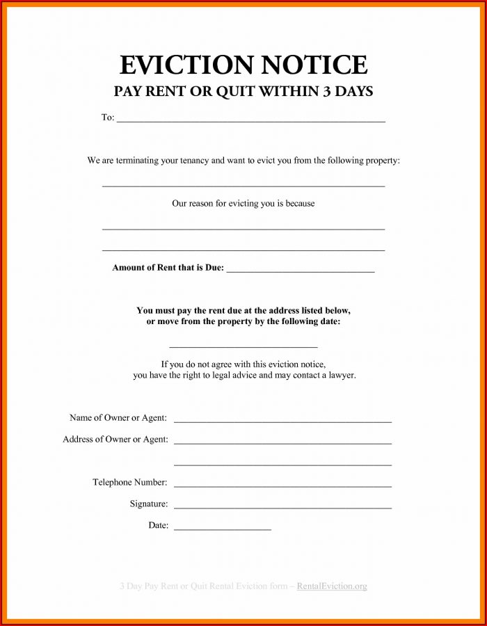 3 Day Eviction Notice Template California