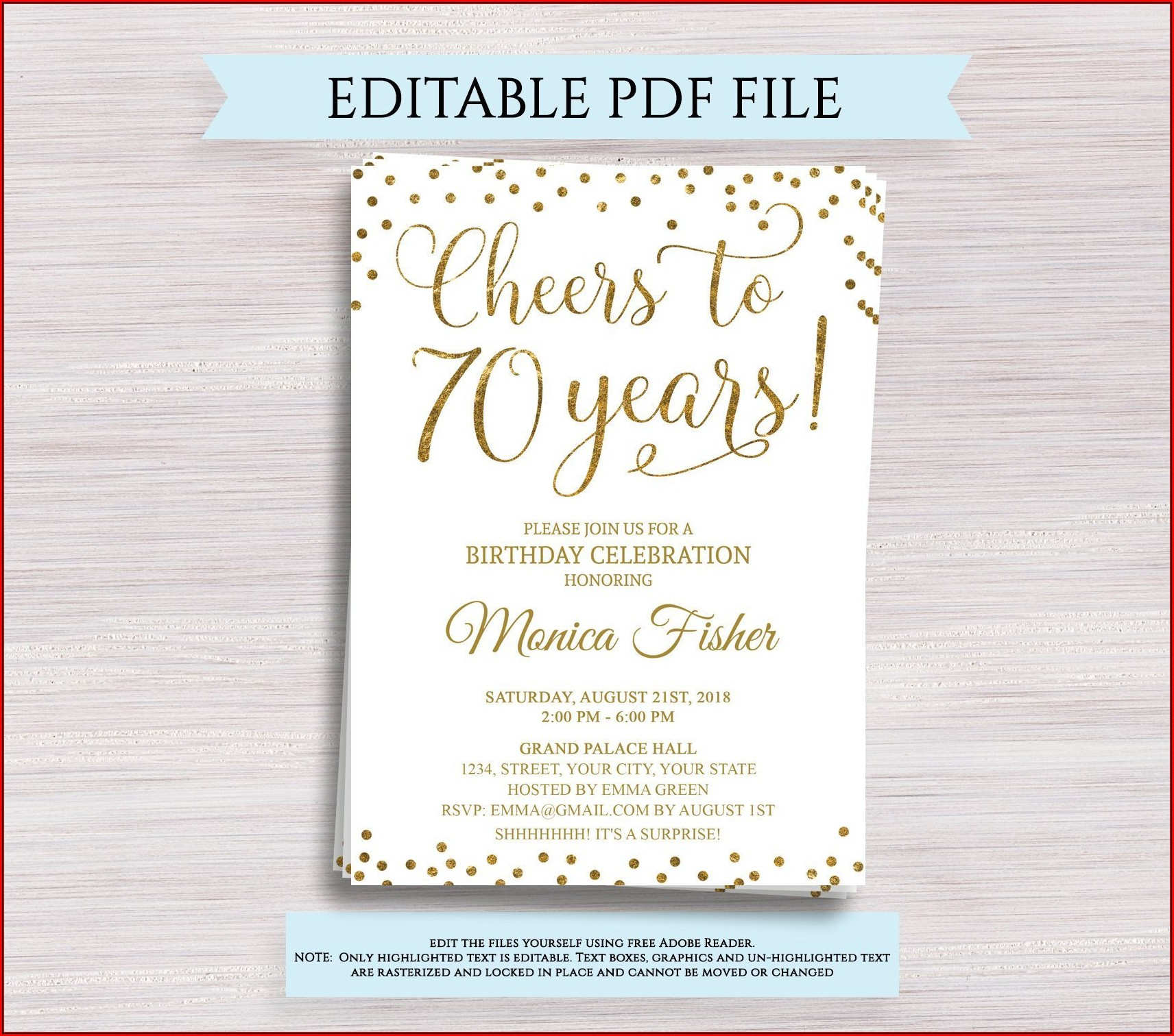 70th Birthday Invitations Templates Free