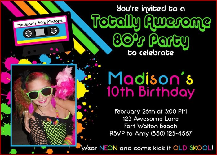 80's Party Invitation Template Free
