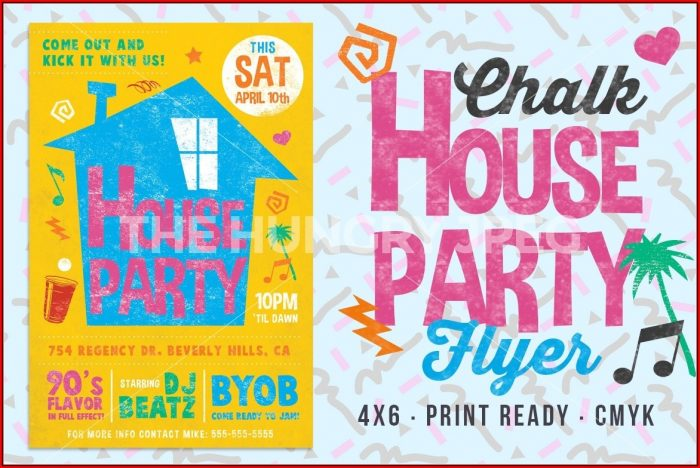 90s House Party Invitation Template