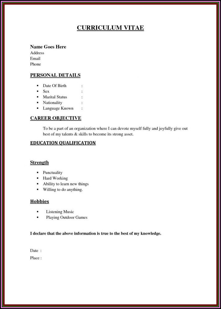 A Résumé Outline A Person's