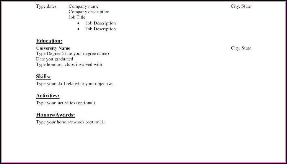 A Simple Resume Format For Freshers