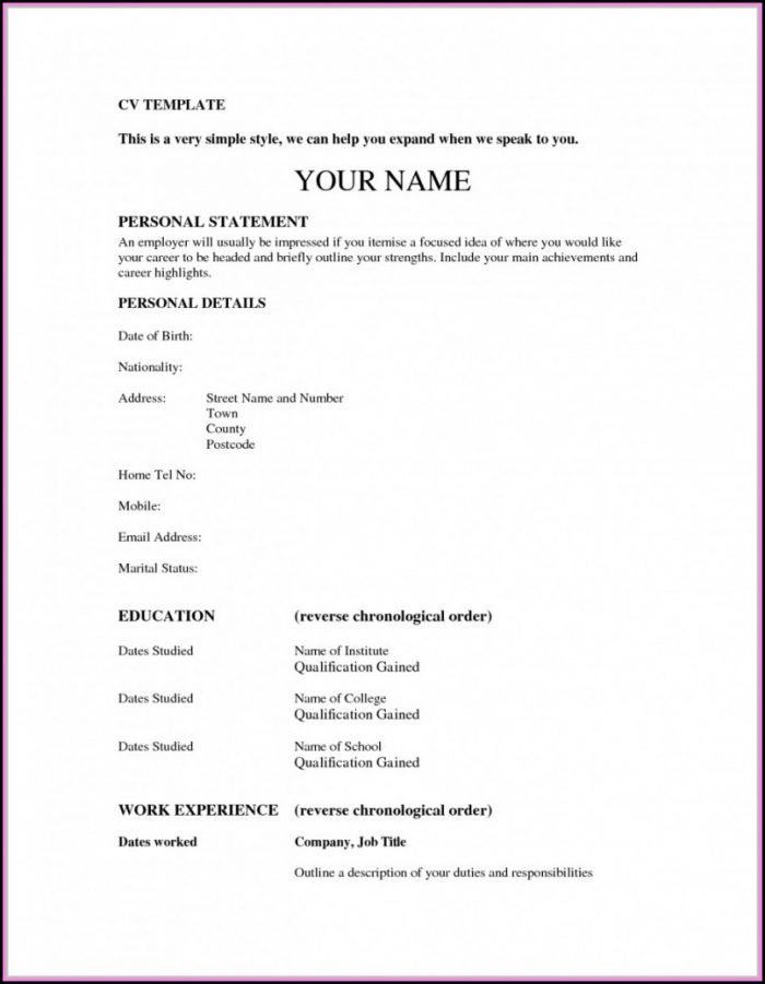 A Simple Resume Format For Job