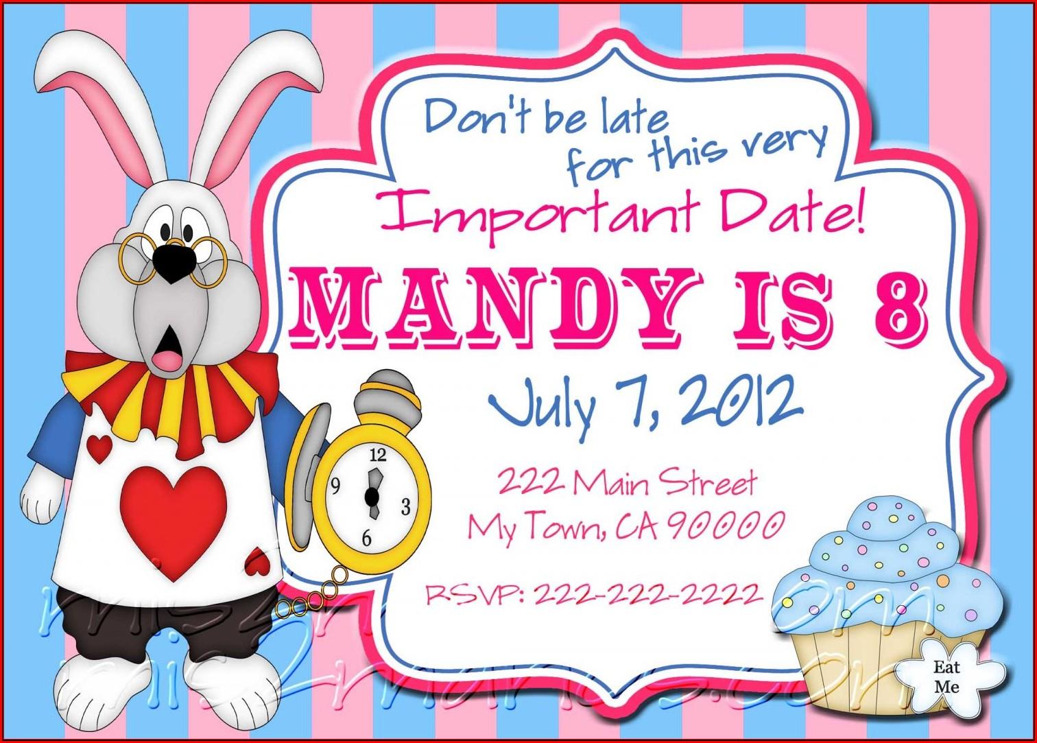 Alice In Wonderland Themed Invitation Template
