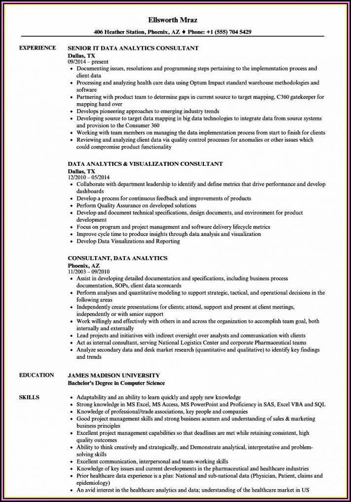 Analytics Consultant Resume Sample
