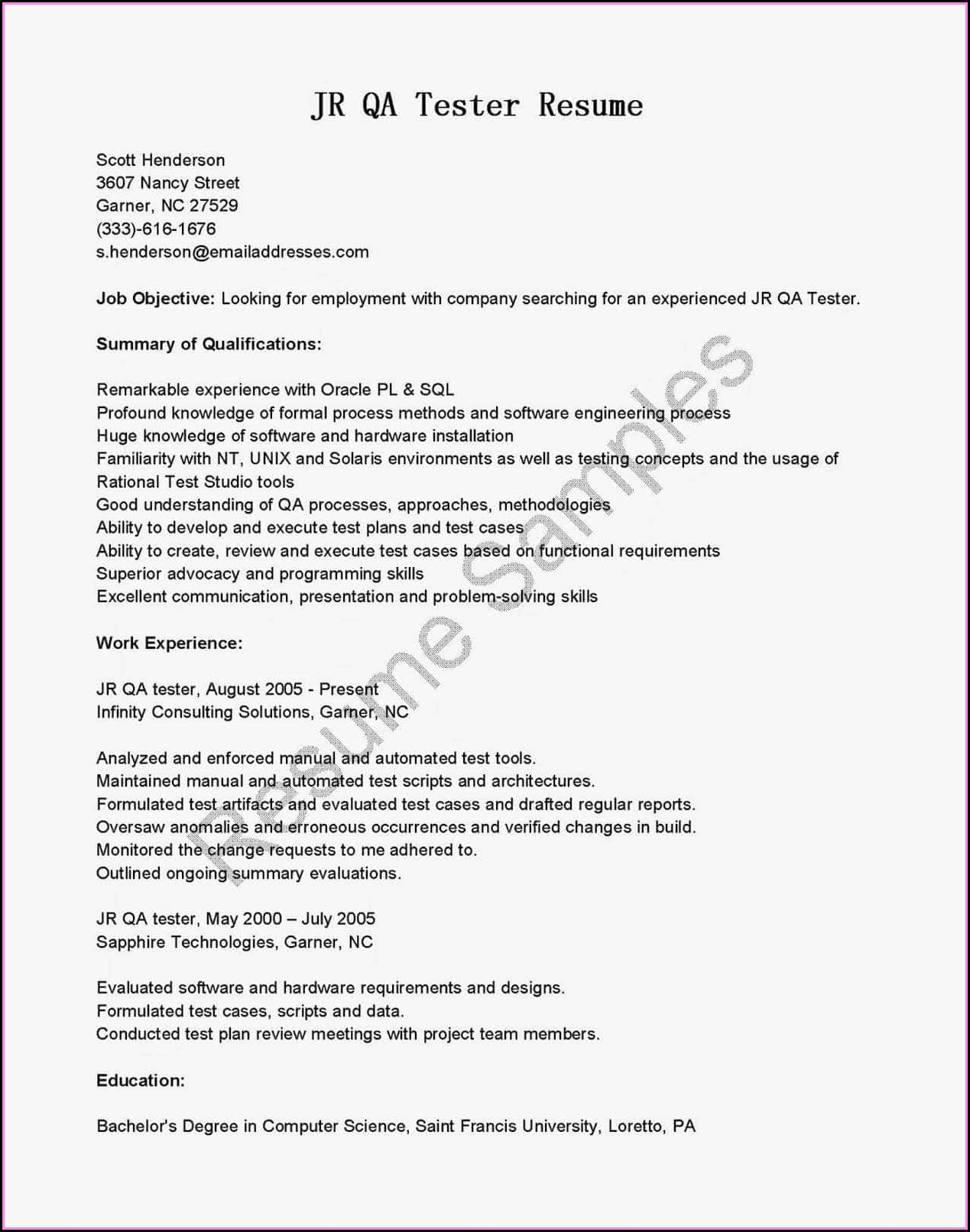 Android Mobile Application Testing Resume Sample