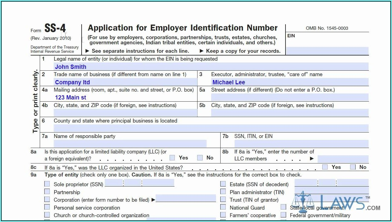 Application For Employer Identification Number Form Ss 4
