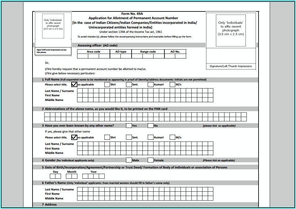 Application Form For Pan Card In Pdf