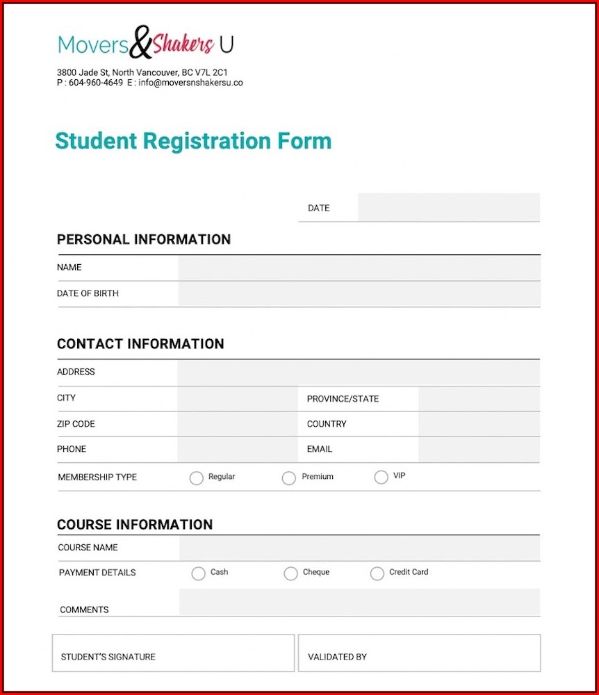 Application Form Template Word