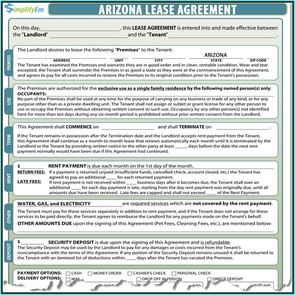 Arizona Landlord Tenant Act Forms