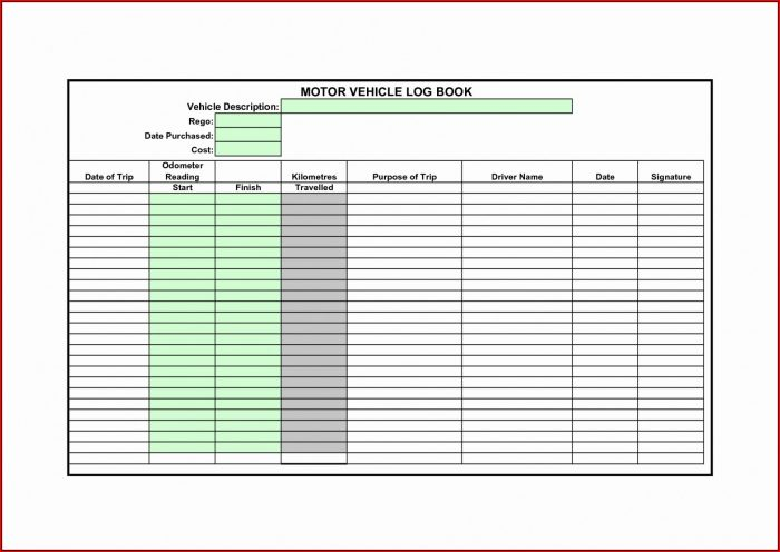 Ato Mileage Log Book Template