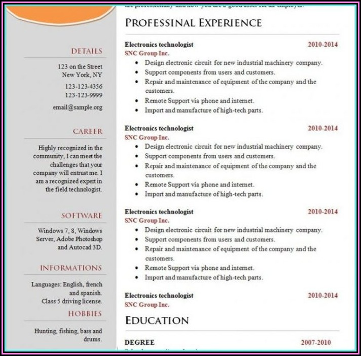 Attractive Resume Templates Free Download Google Docs