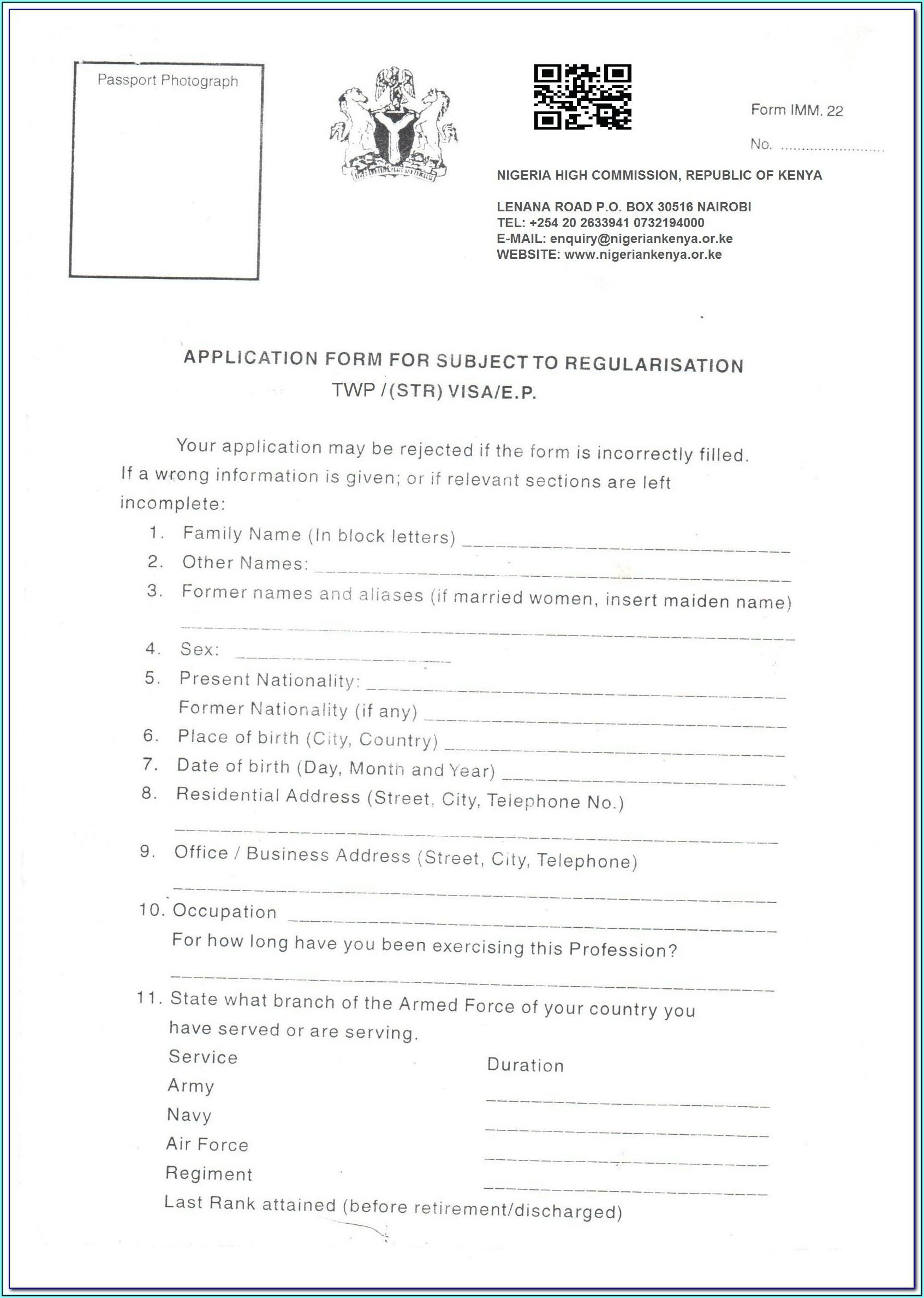 Australia Visitor Visa Form 1419