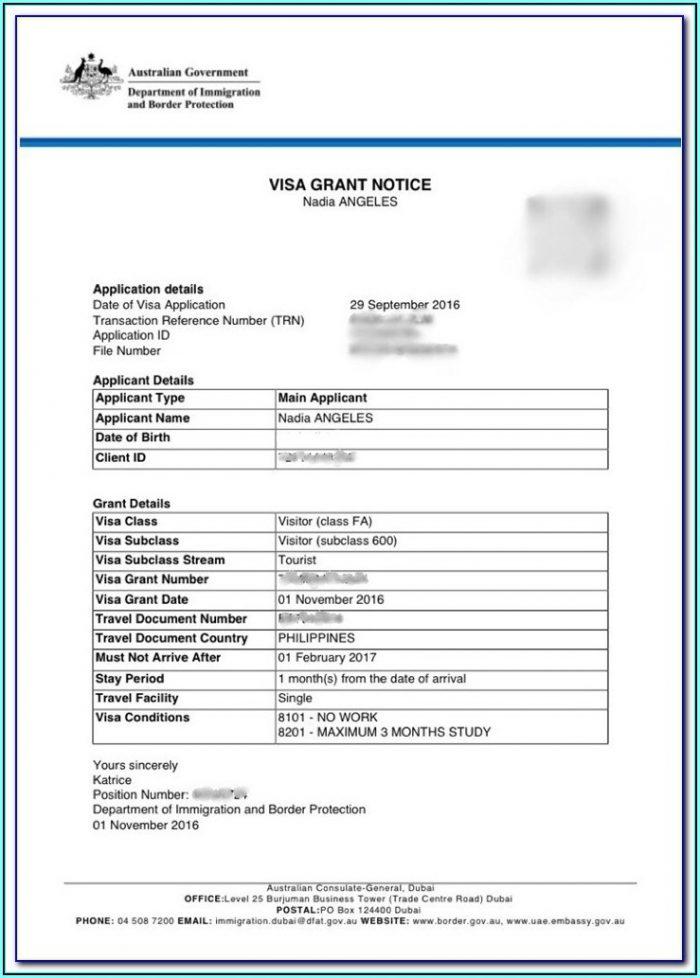 Australian Embassy Tourist Visa Form 1419