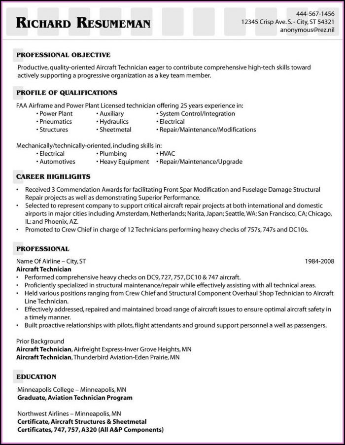 Aviation Cv Template Uk