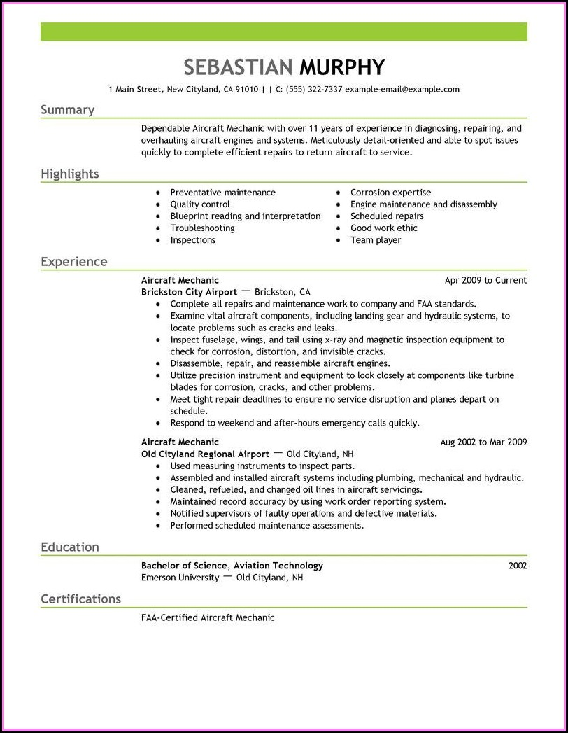 Aviation Maintenance Resume Template