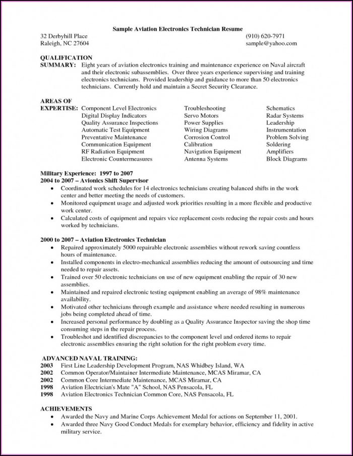 Aviation Mechanic Resume Templates