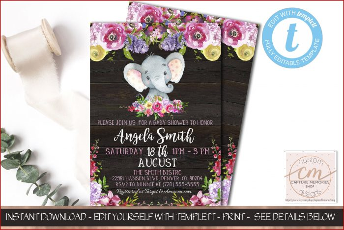 Baby Shower Elephant Template Girl