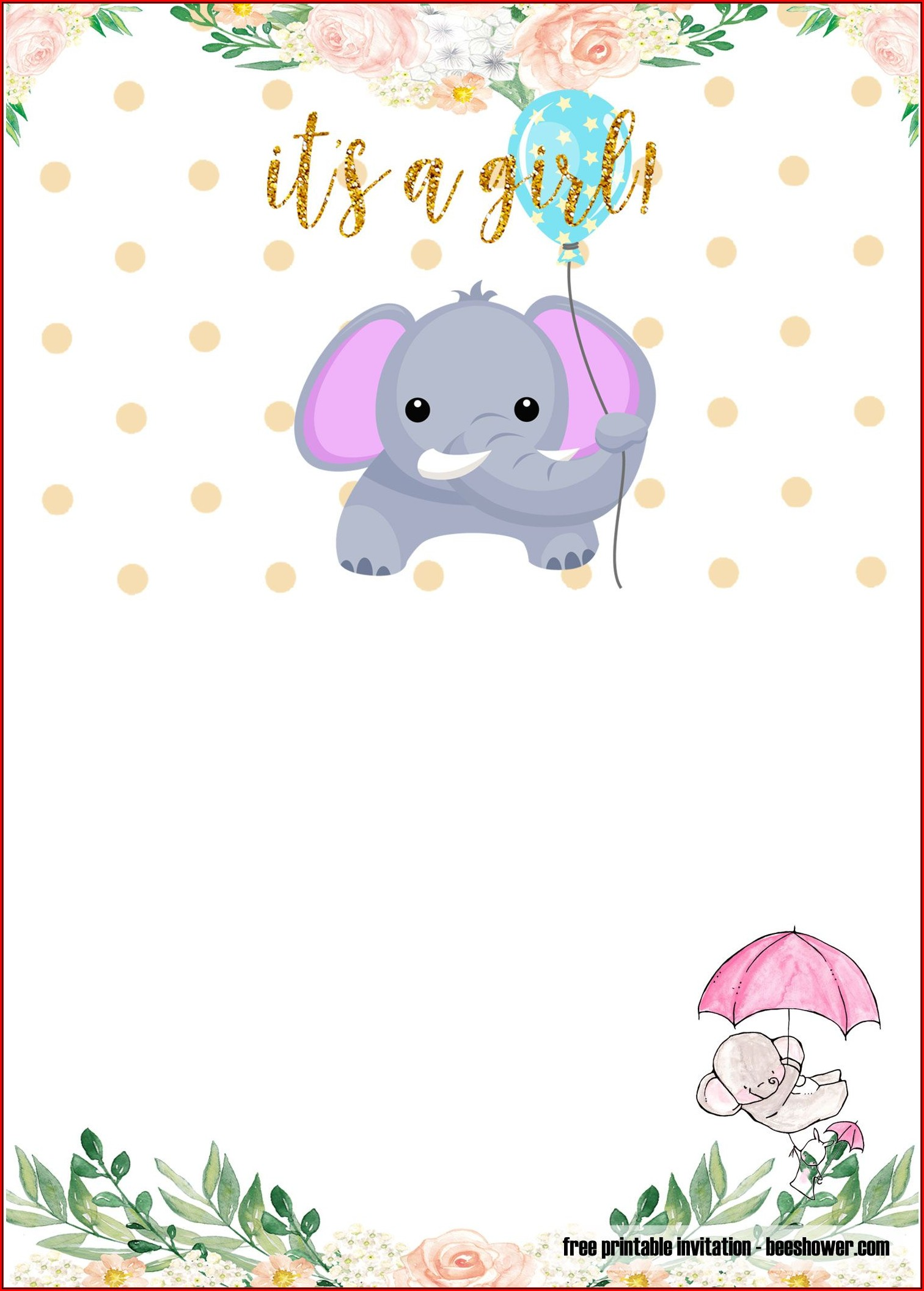 Baby Shower Elephant Templates