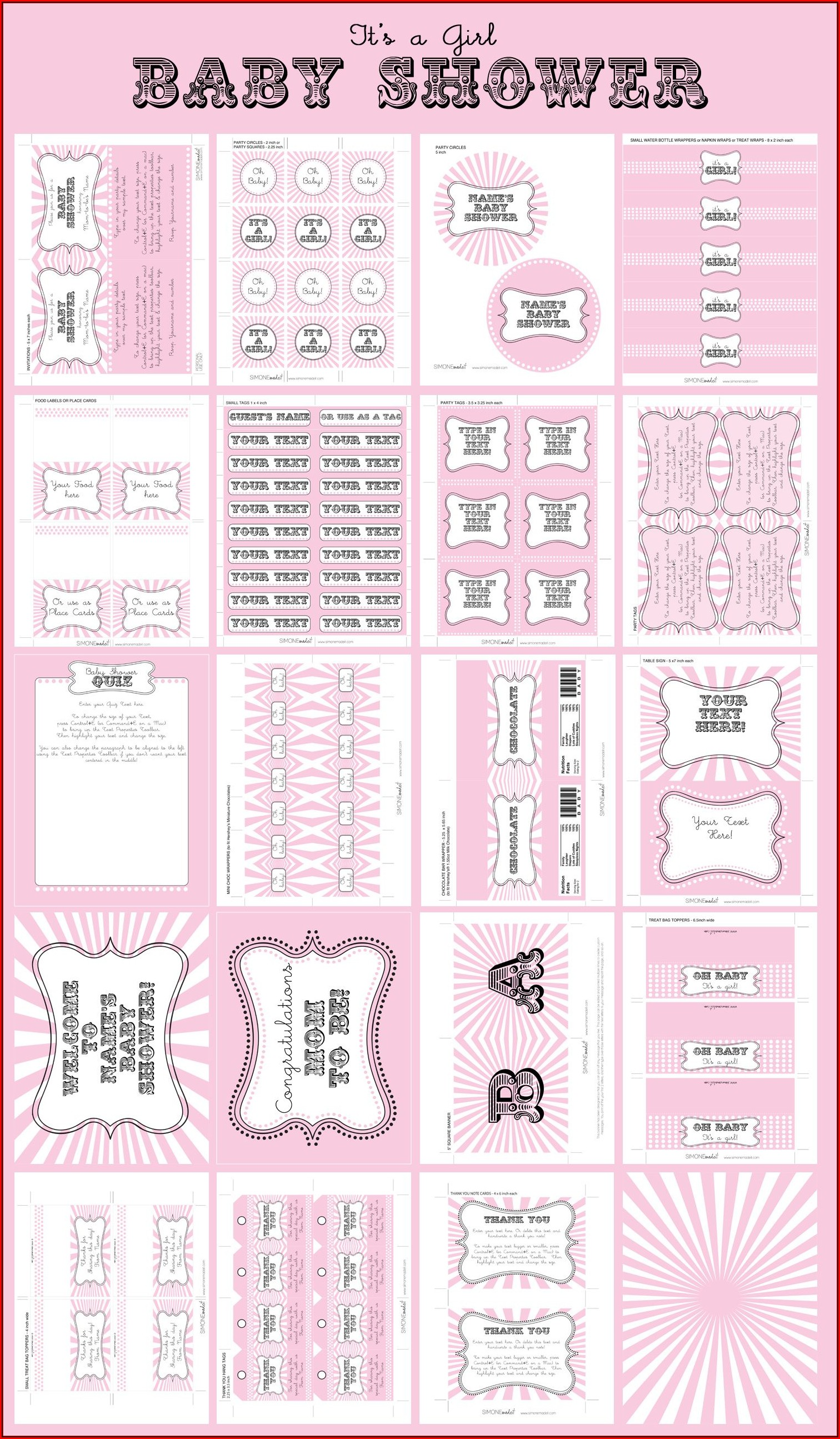 Baby Shower Printables Girl