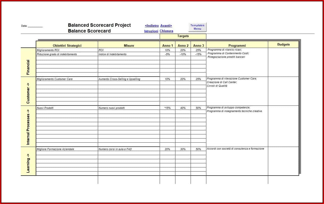 Balanced Scorecard Example Excel