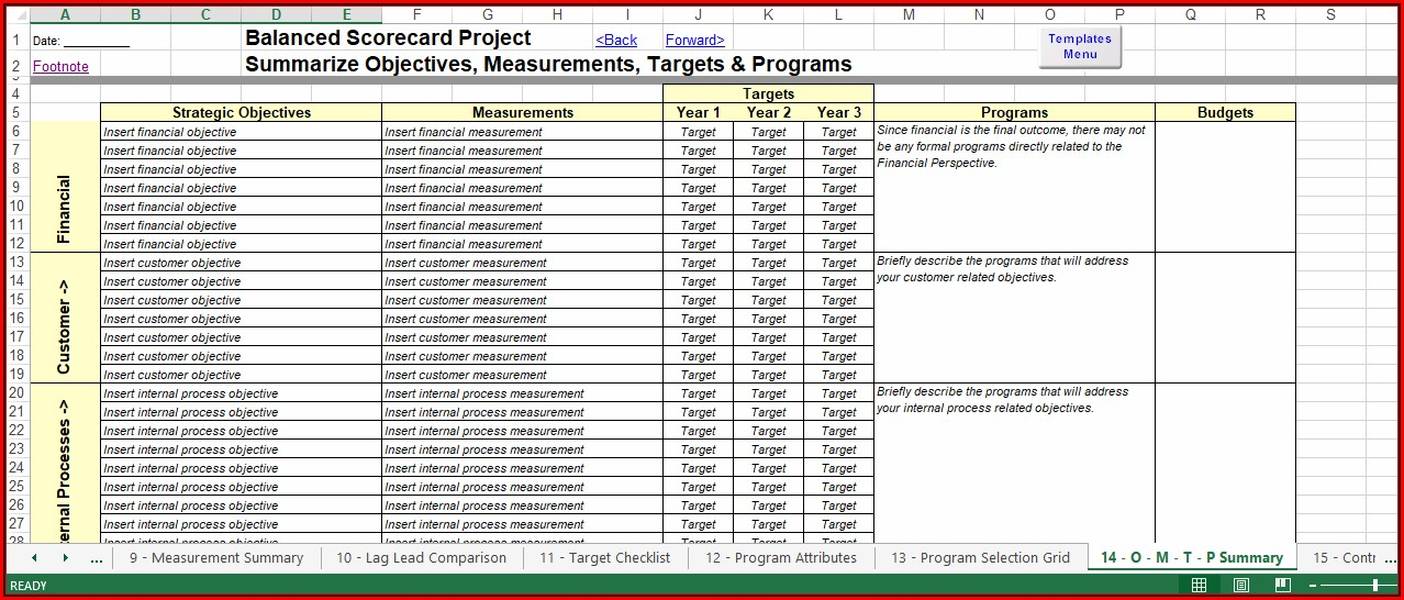 Balanced Scorecard Templates Excel