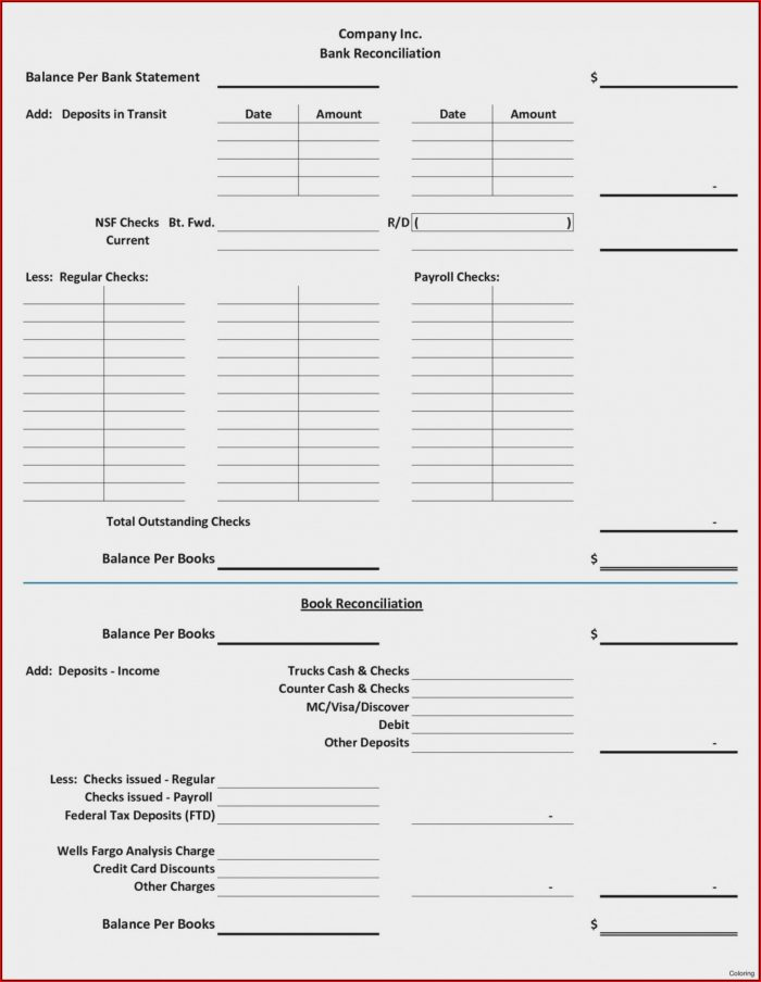Bank Reconciliation Form Excel