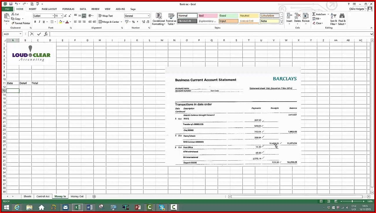 daily bank reconciliation excel format