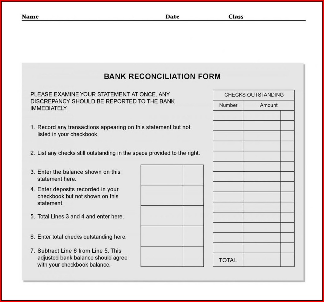 Bank Reconciliation Statement Template Excel
