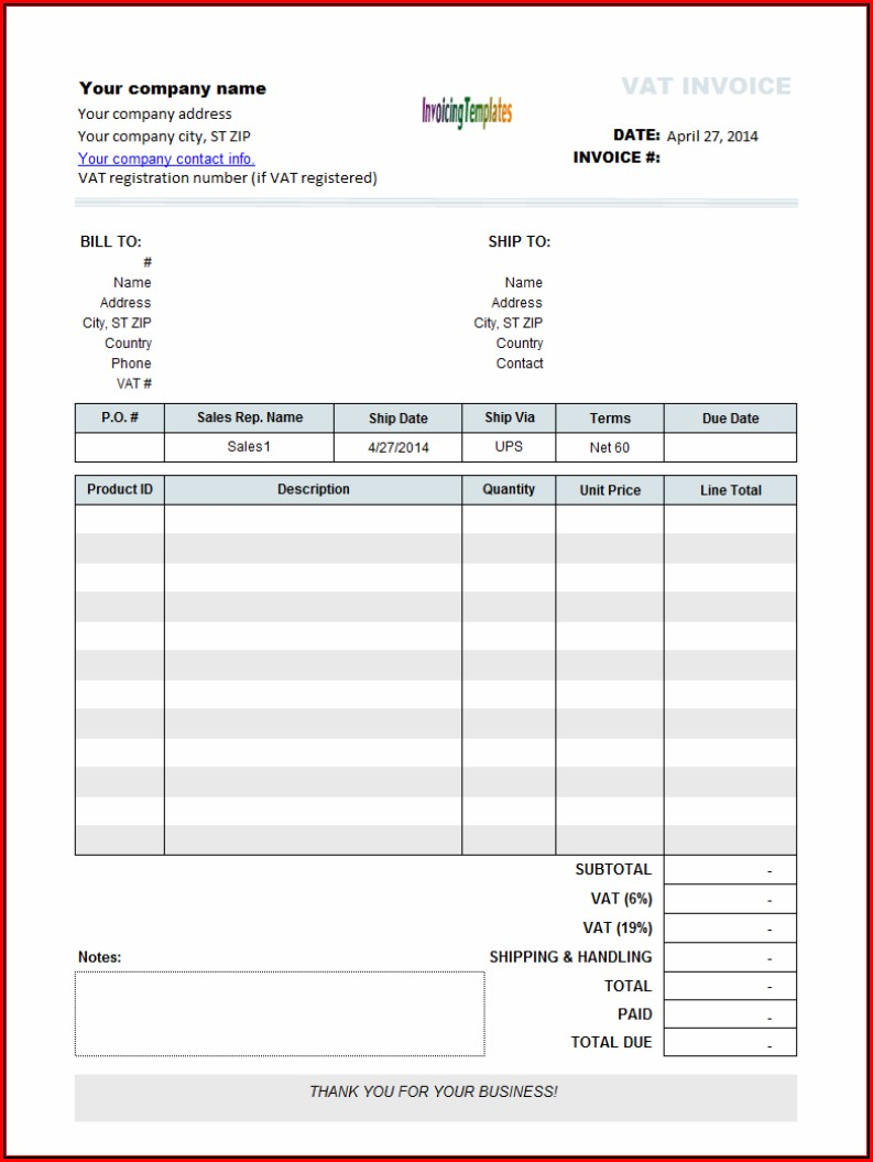 Basic Invoice Template Open Office