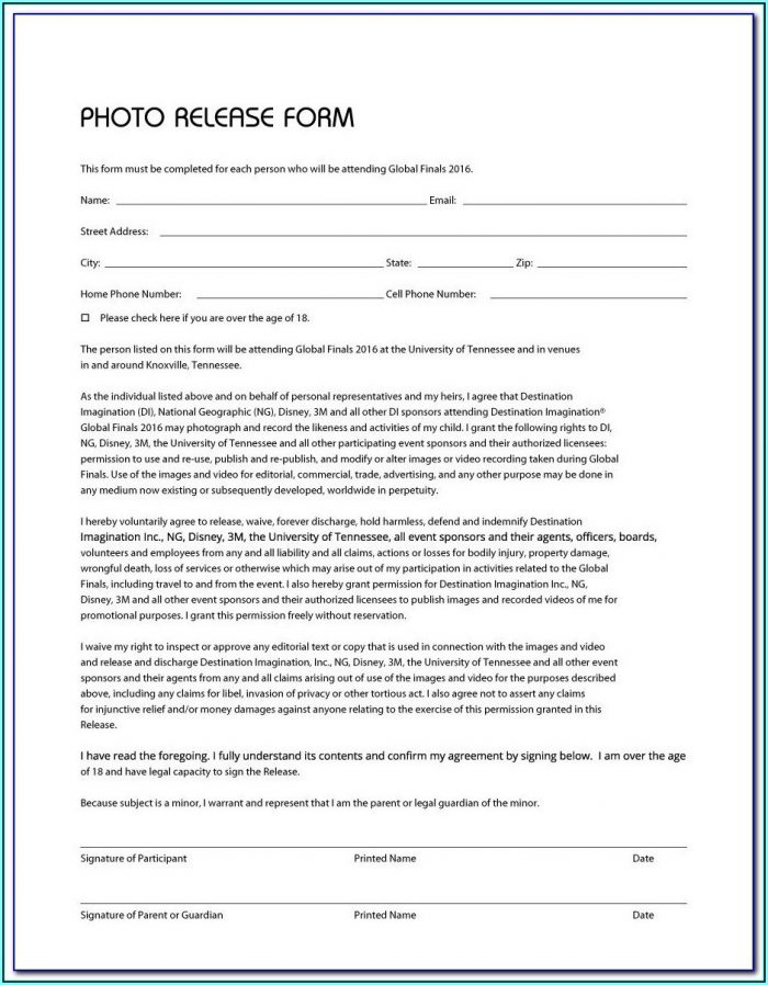 Basic Photography Release Form