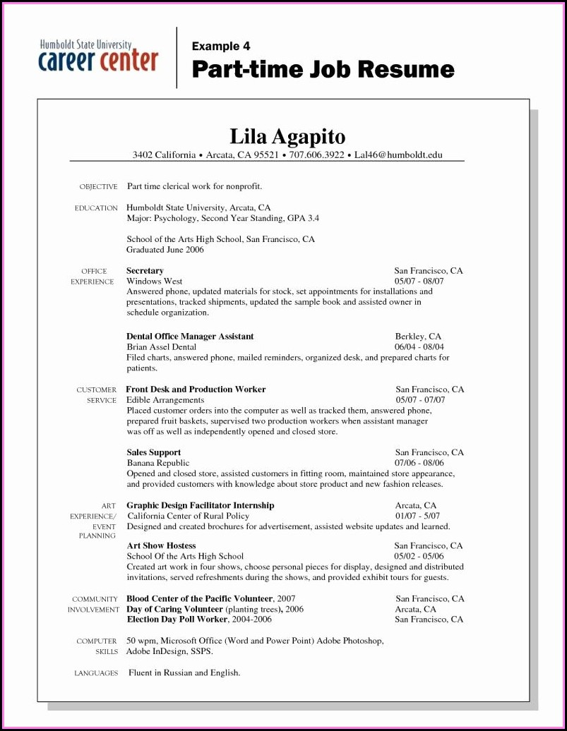 Basic Resume Examples For Part Time Jobs