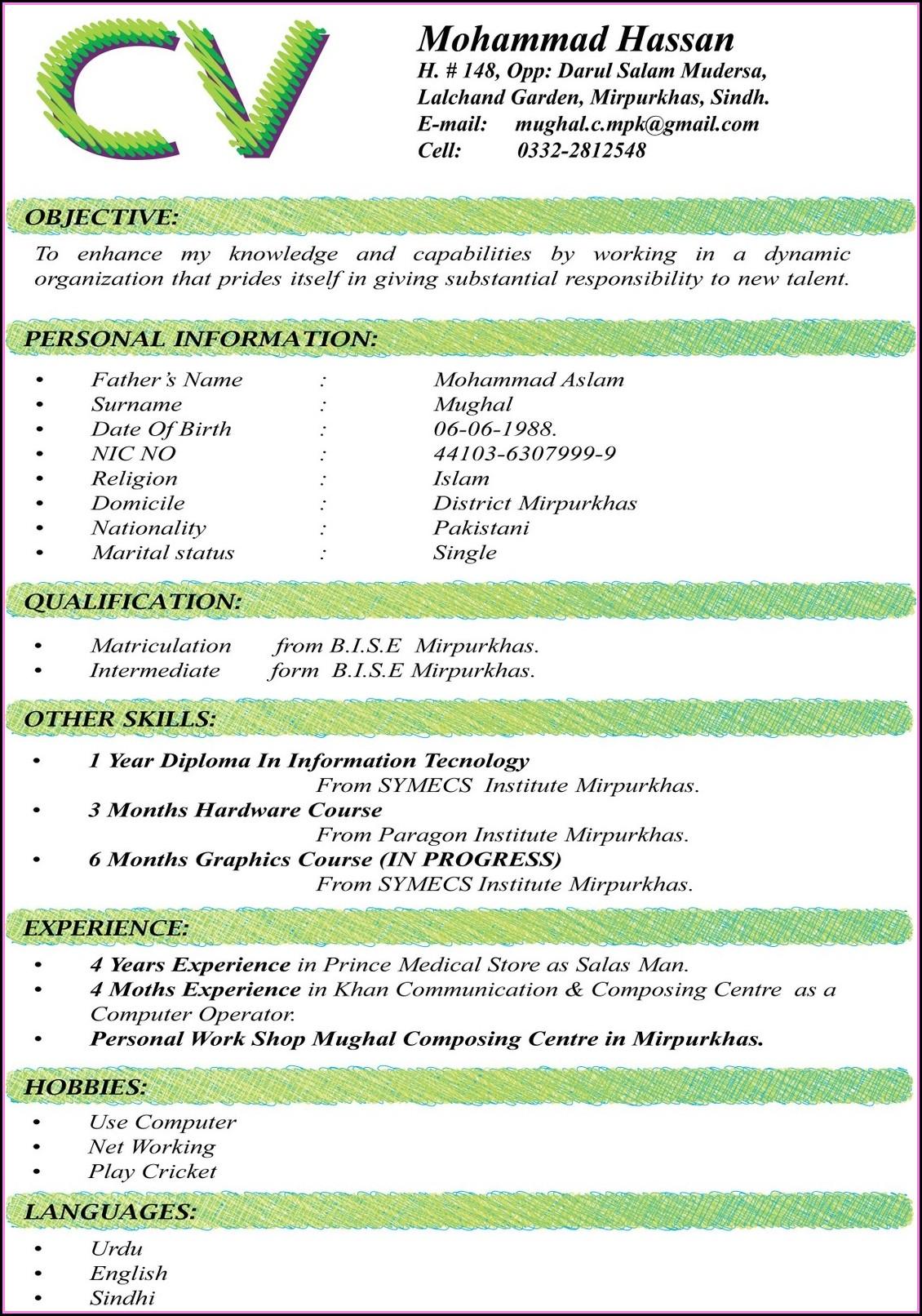 Best Resume Format Doc Free Download