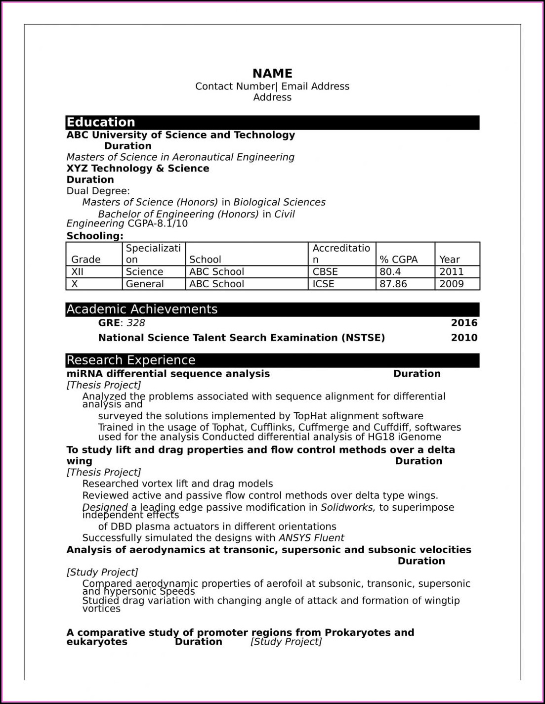 Best Resume Format For Freshers Computer Engineers Free Download Pdf
