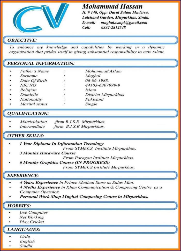 Best Resume Format For Freshers Free Download Pdf