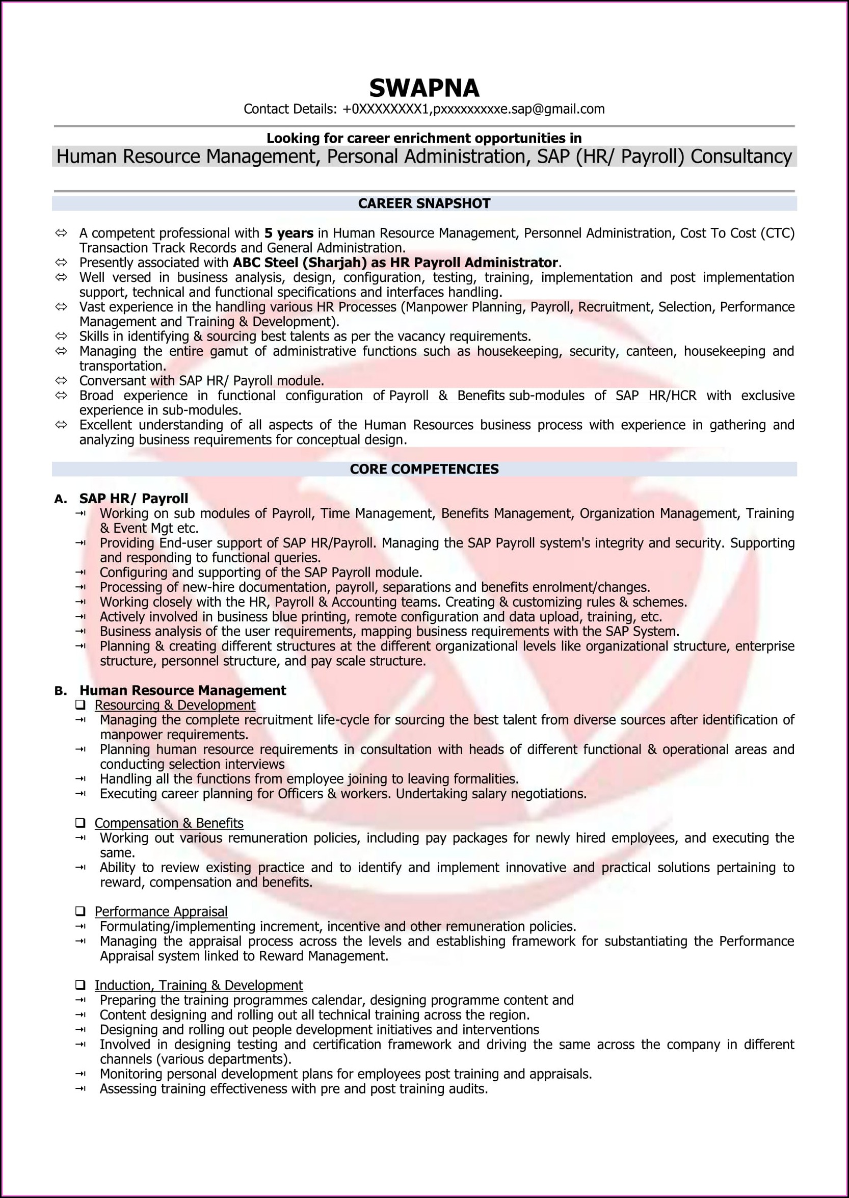 Best Resume Format For Hr Executive