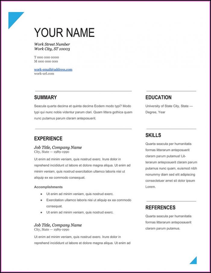 Best Resume Format Free Download Word